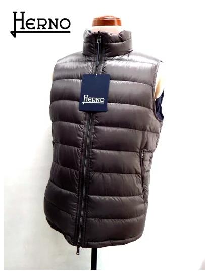 HERNO (ヘルノ) リバーシブル 軽量 ダウンベスト グレーブラウン×ネイビー