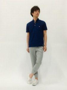 ポロシャツ×リブパンツ