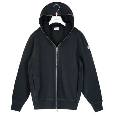 モンクレール パーカー メンズ カーディガン MONCLER ジップアップ ネイビー コットン 袖ロゴ S