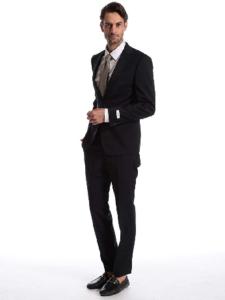 1.Calvin Klein ストレッチ ウール100% 無地 シングル 2ツ釦 スーツ SLIM FIT