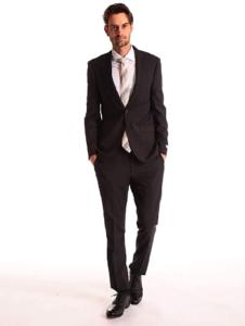 2.Calvin Klein ストレッチ ウール混 無地 シングル 2ツ釦 スーツ SLIM FIT