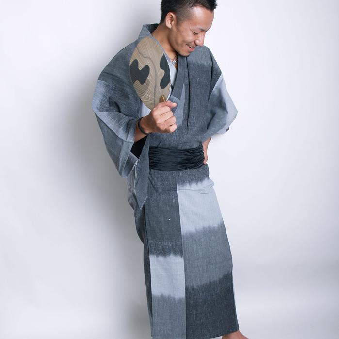浴衣 メンズ浴衣4点セット 日本製高級生地 段染め暈かし グレー