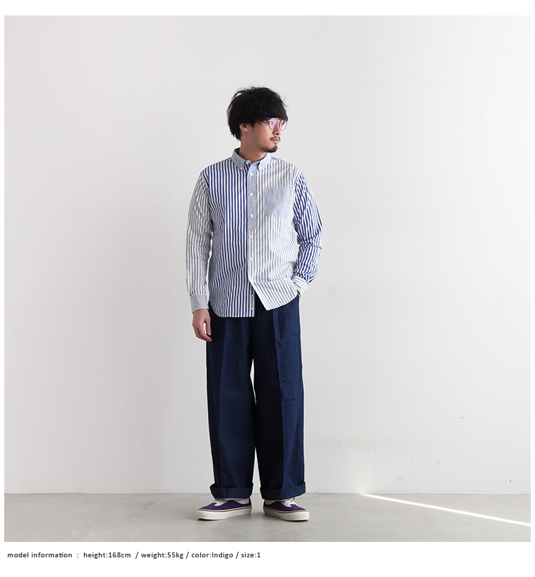 [H-PT002]H.UNIT(エイチユニット) crown size tuck trousers