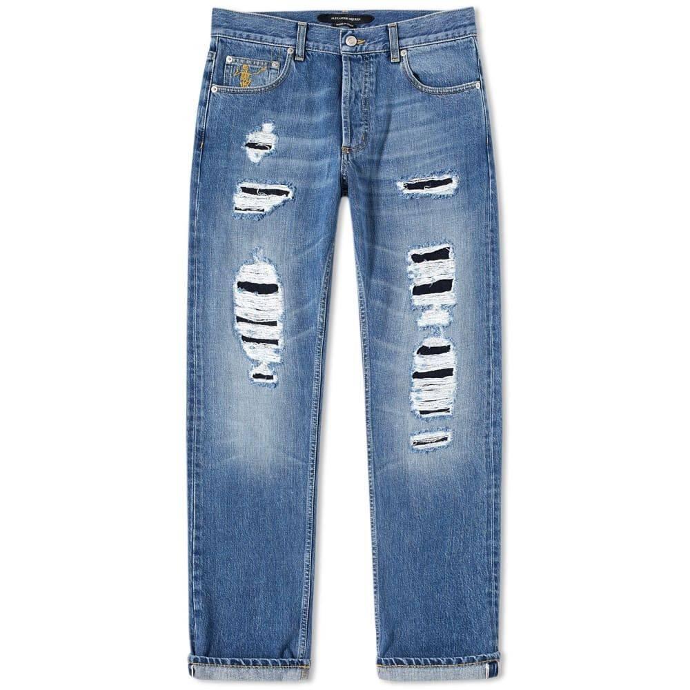 アレキサンダー マックイーン Alexander McQueen メンズ ジーンズ・デニム ボトムス・パンツ【distressed slim fit jeans】Blue Washed