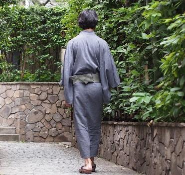 メンズ浴衣セット  ギンガムチェック 淡い生成りに紺 グレー