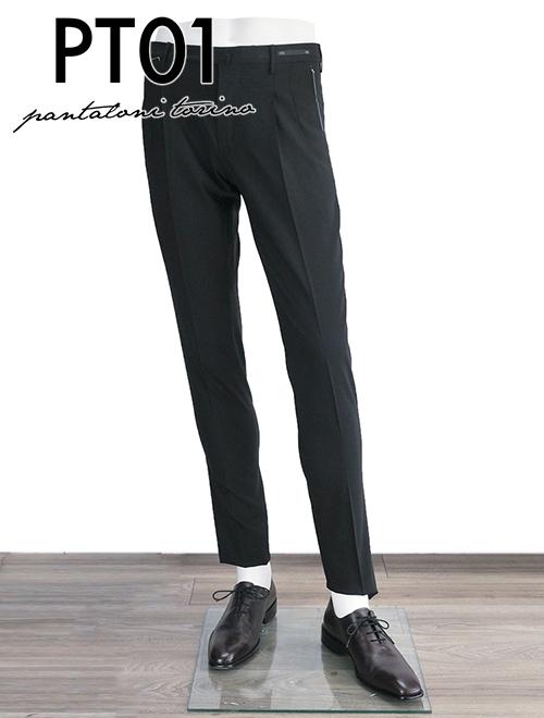 ピーティーゼロウーノ メンズ スラックス ブラック 2タック