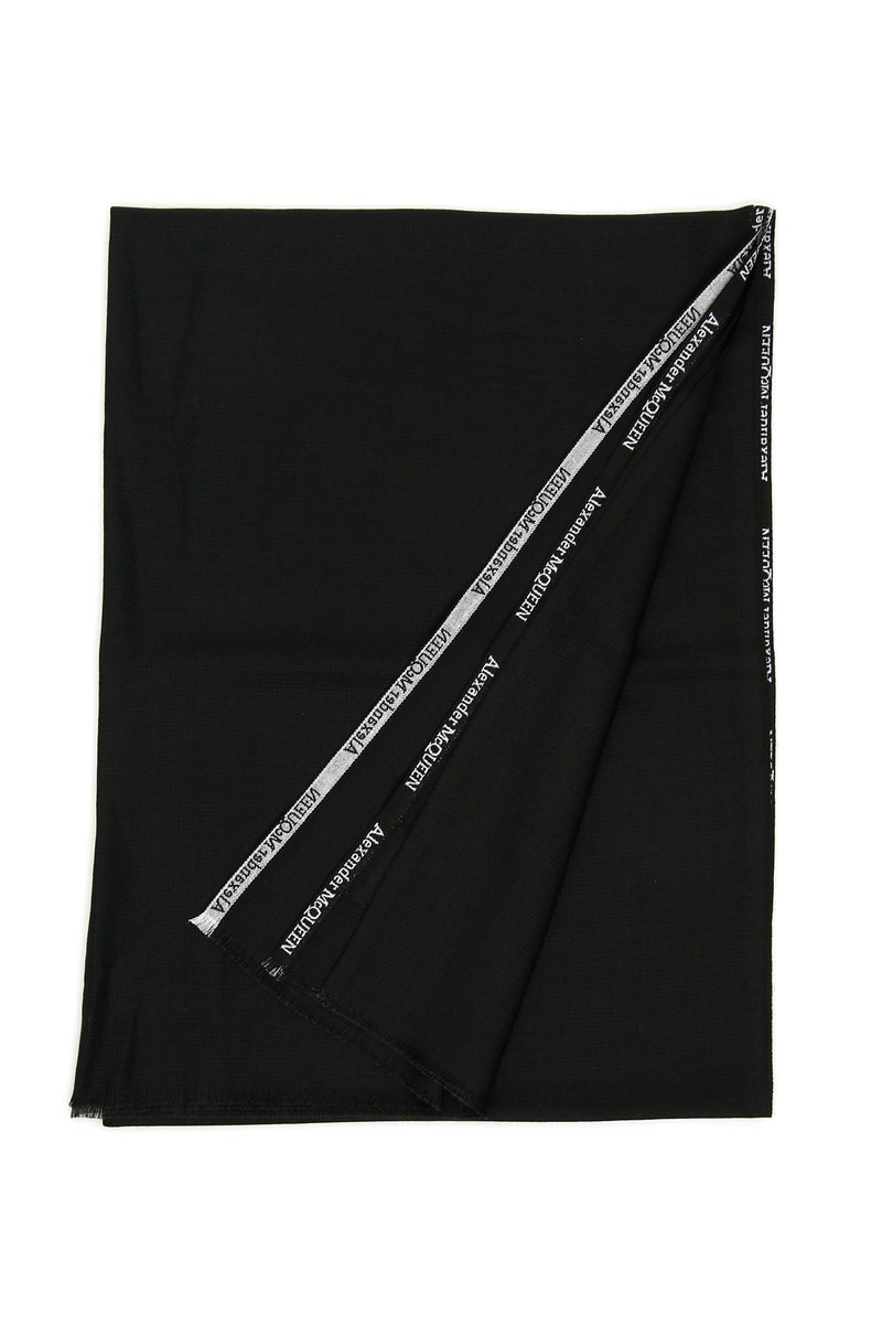 ALEXANDER MCQUEEN/アレキサンダー マックイーン ハンカチ BLACK IVORY Alexander mcqueen silk and cashmere scarf