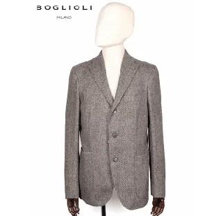 BOGLIOLI ヘリンボーン柄 3B シングルテーラード ジャケット ブラウン 220-41721 イタリア製 ウール