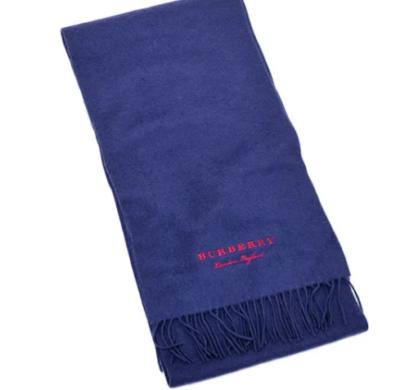 BURBERRY カシミア 刺繍入り フリース マフラー ブルー系   4079005 BRIGHT NAVY