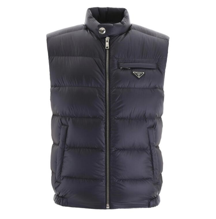 PRADA/プラダ ダウンベスト NAVY AVIAZIONE Prada bicolor puffer vest SGB114 1C4G ik